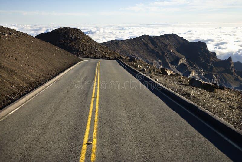 Weg in Haleakala Nationaal Park, Maui, Hawaï. stock afbeeldingen
