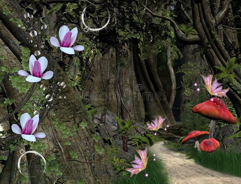 Weg in het midden van het bos stock illustratie