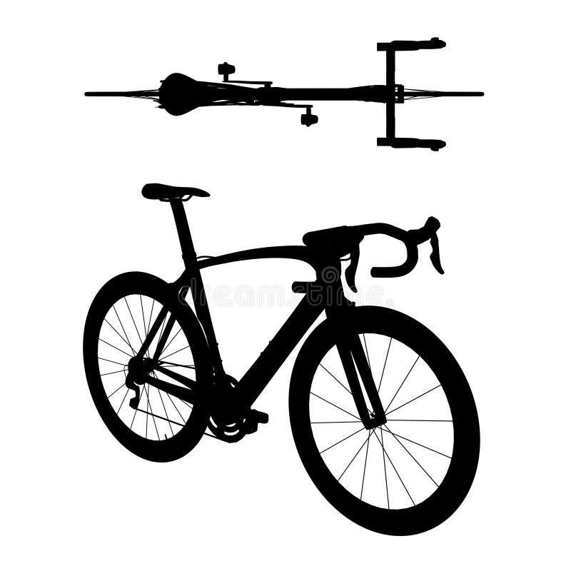Weg het rennen fietssilhouet 2in1 C stock afbeeldingen