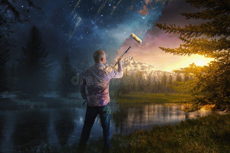 Weg het schilderen van de nacht stock afbeelding