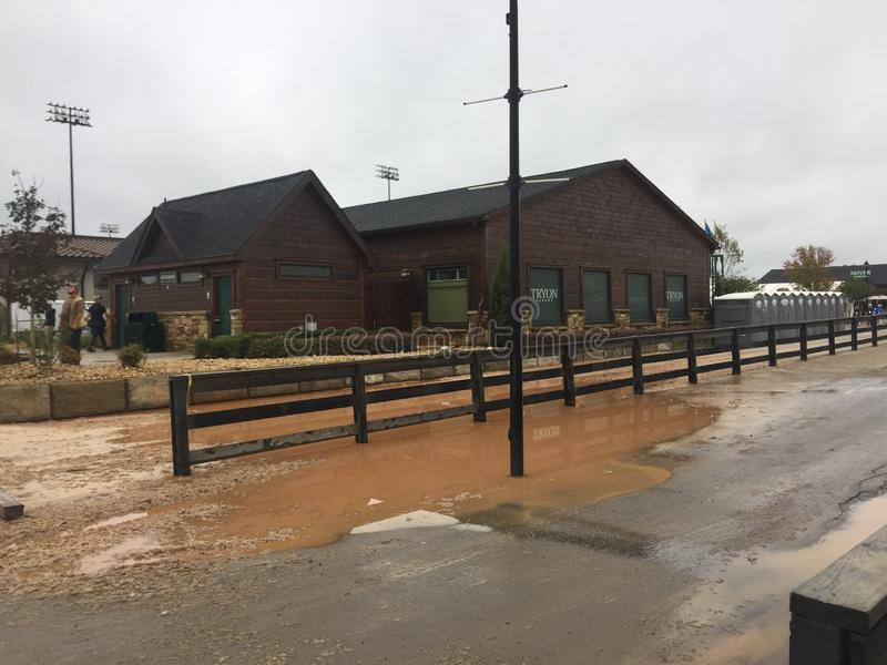 2018 world Equestrian games - flooding after hurricane florence. WEG hosted by Tryon International Equestrian Center in Mill Springs, North Carolina. Show royalty free stock photography