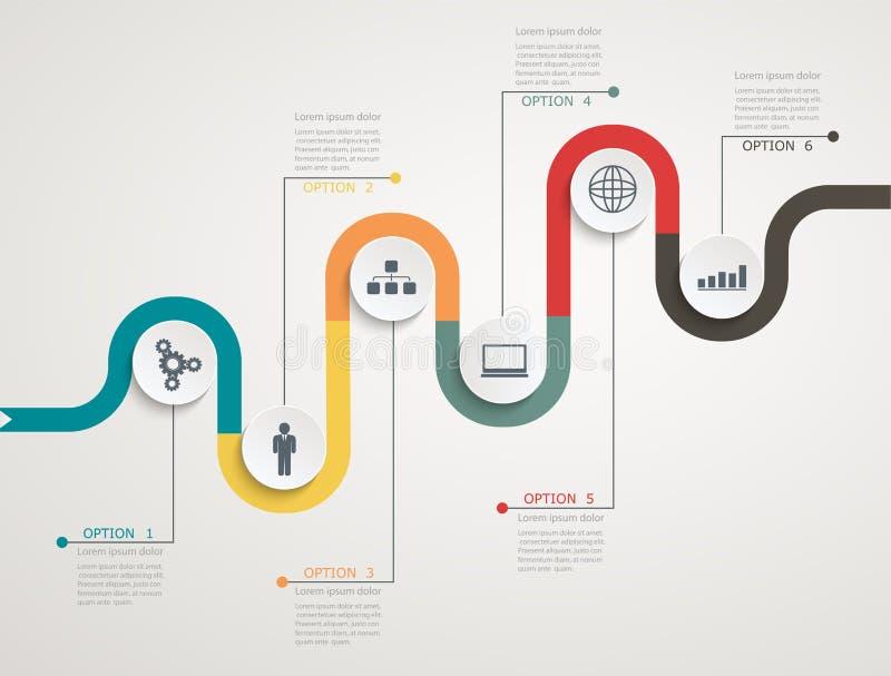 Weg infographic chronologie met pictogrammen, trapsgewijze structuur stock illustratie