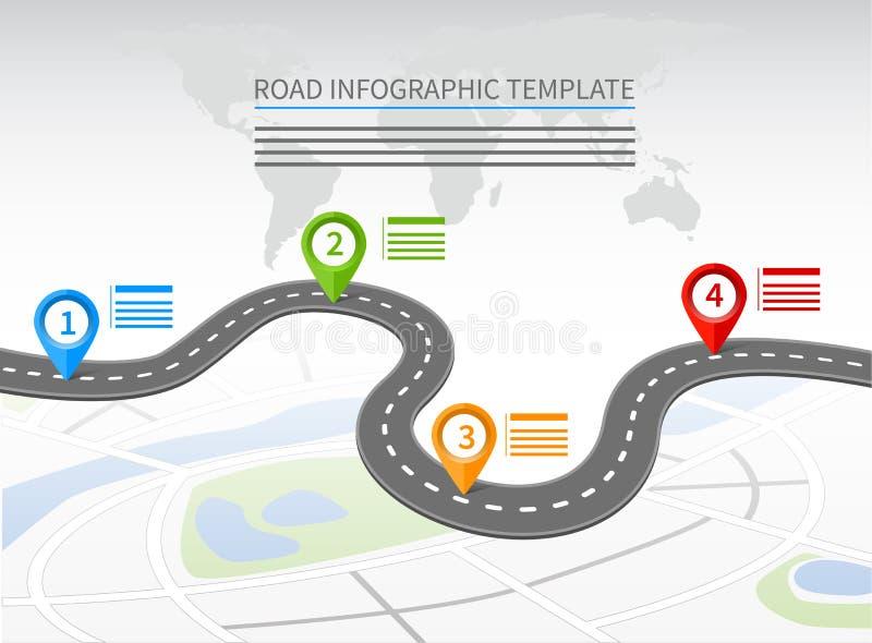 Weg infographic malplaatje vector illustratie