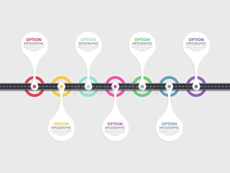 Weg infographic malplaatje met een gefaseerde structuur vector illustratie