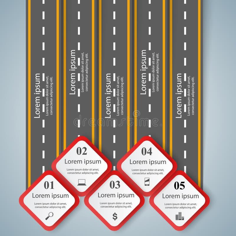 Weg infographic ontwerp malplaatje en marketing pictogrammen royalty-vrije illustratie