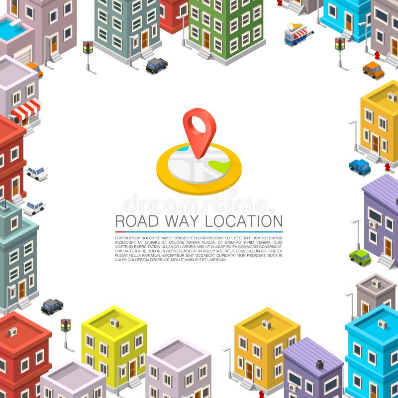 Weg in Isometrisch cityscape vector illustratie