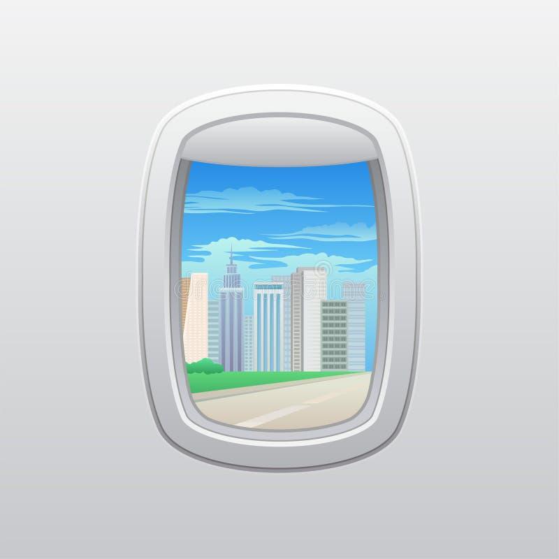 Weg langs de wolkenkrabbers Mening van het venster van het vliegtuig Vector illustratie op witte achtergrond vector illustratie