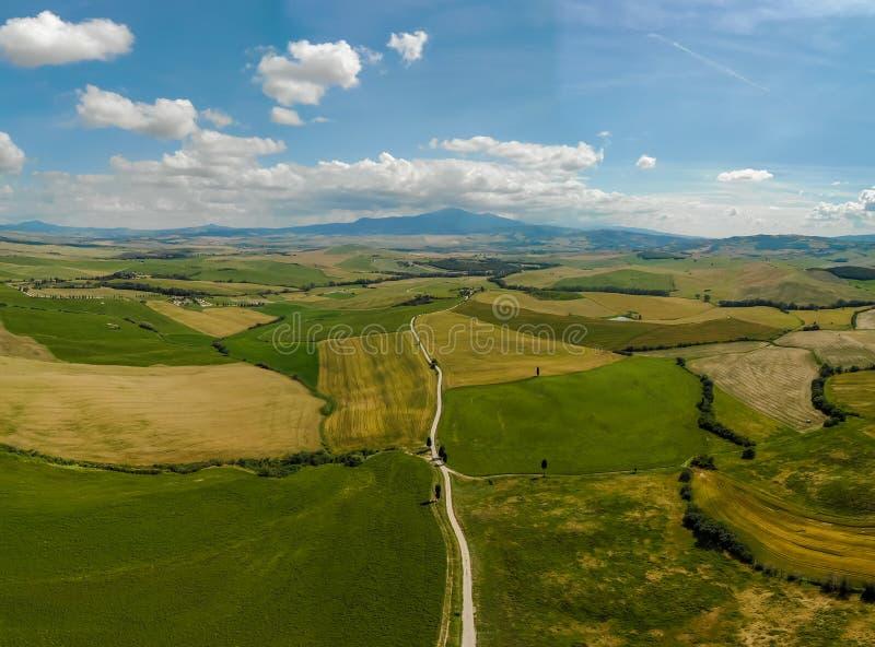 Weg met cipresbomen in orcia van Val D (Orcia-Vallei) dichtbij Pienza in Toscani?, Itali? - cipresbomen langs het beroemde wit stock foto's