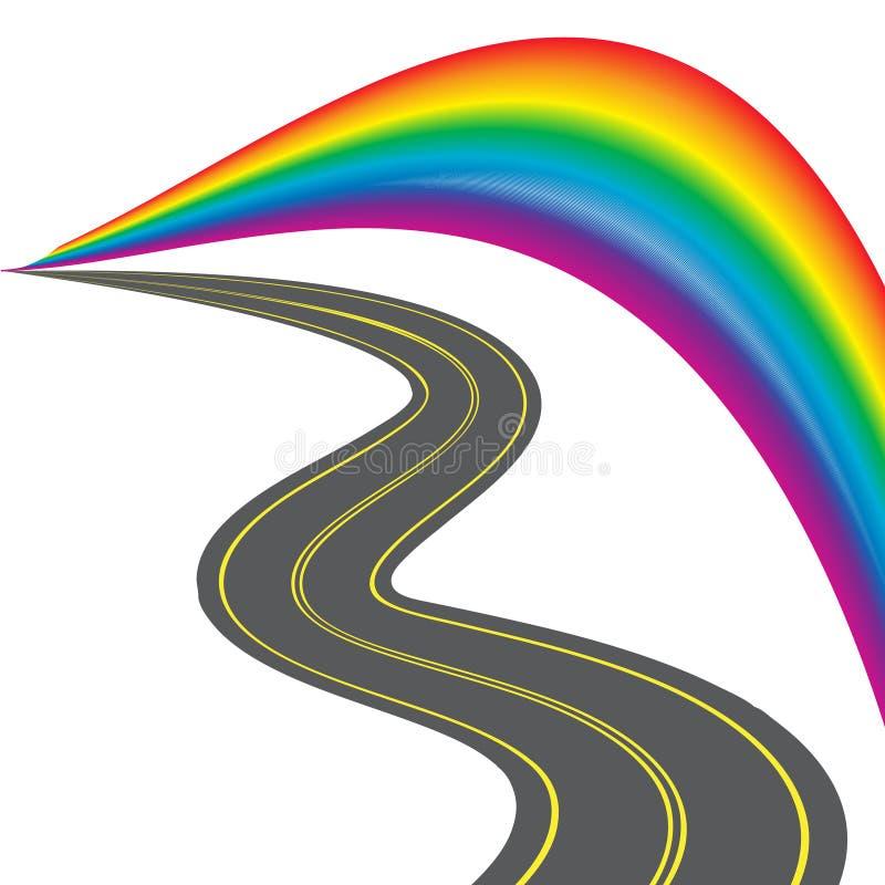 Weg met gele noteringen, die in de afstand achteruitgaan Kleurrijke gestileerde regenboog Illustratie vector illustratie