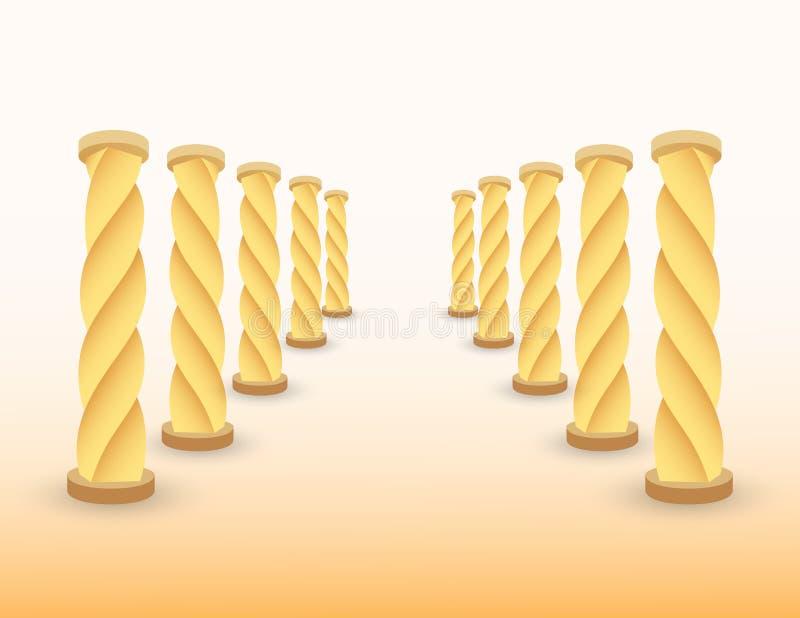Weg met gouden pijlers om bestemming voor succes te tonen als het levens en bedrijfs vectorillustratie stock illustratie