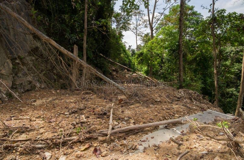Weg met modderstroom wordt behandeld die royalty-vrije stock foto