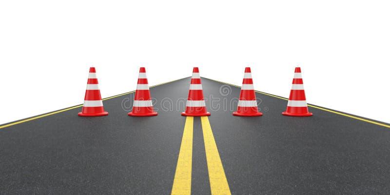 Weg met verkeerskegels stock illustratie