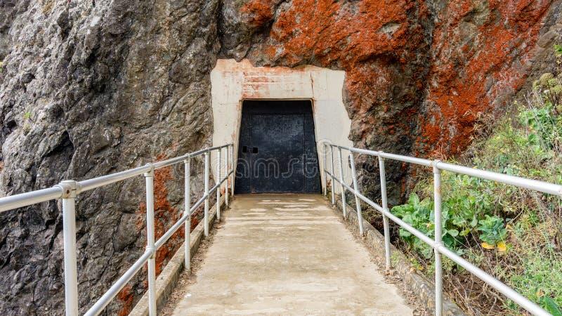 Weg om Bonita Lighthouse en kustlijn te richten royalty-vrije stock afbeelding