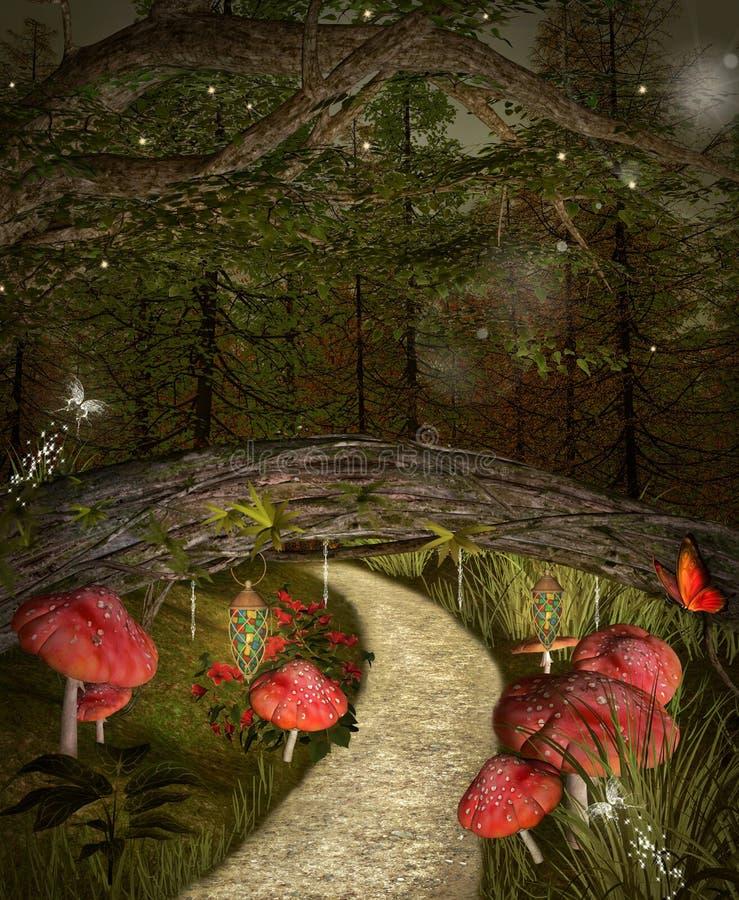 Weg onder de brug stock illustratie