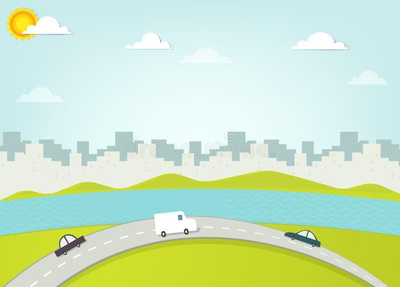 Weg op achtergrondsilhouet van de stad stock illustratie
