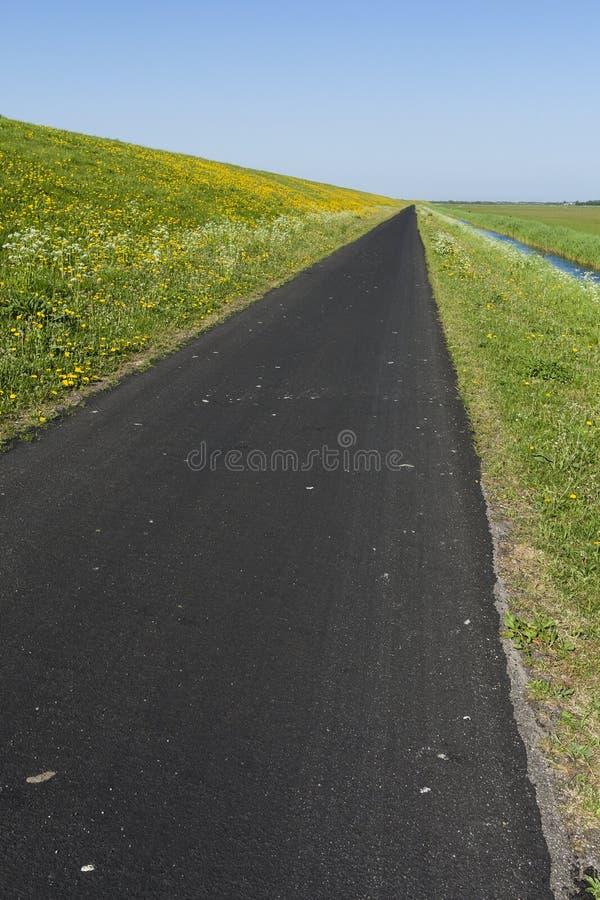 Weg op Schiermonnikoog, droga przy Schiermonnikoog fotografia royalty free