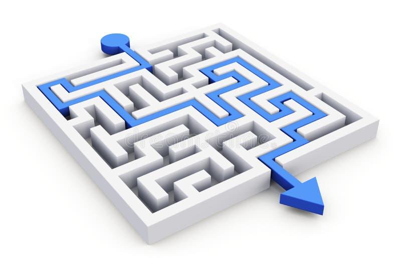 Weg over labyrint royalty-vrije illustratie