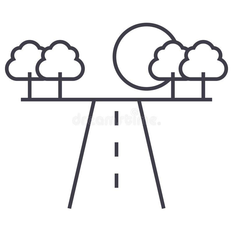Weg in pictogram van de horizont het vectorlijn, teken, illustratie op achtergrond, editable slagen royalty-vrije illustratie