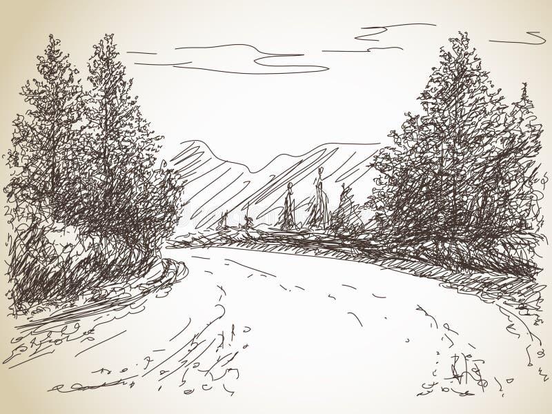 Weg in platteland stock illustratie