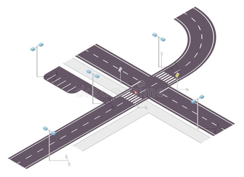 Weg, straatverkeer, grafische informatie, crossway verbinding over wit Illustratie van kruispunten hoofd en zijweg vector illustratie