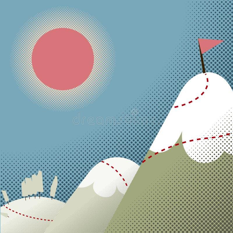 Weg tot de bovenkant van de berg stock illustratie
