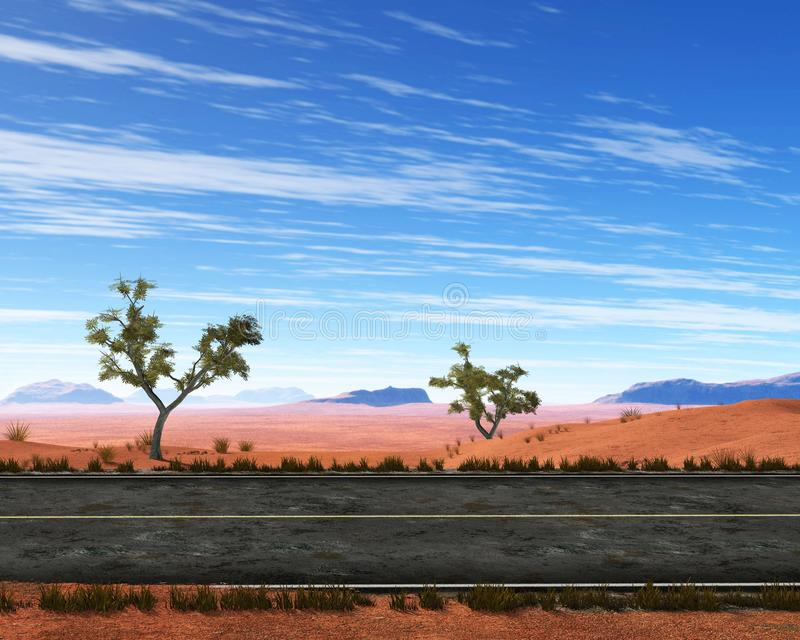 Weg, Weg, Troosteloze Woestijn, Binnenland, Illustratie stock afbeelding