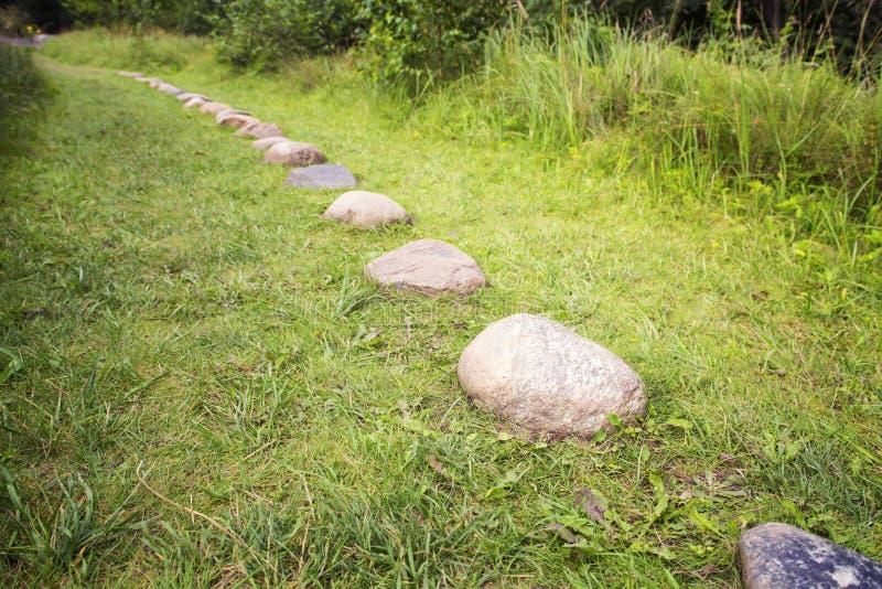 Weg van cobble-stones op groene kruiden een achtergrond stock afbeeldingen
