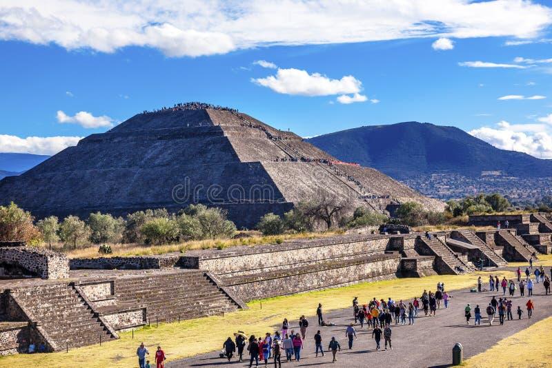Weg van Doden, Tempel van Zon Teotihuacan Mexico royalty-vrije stock fotografie
