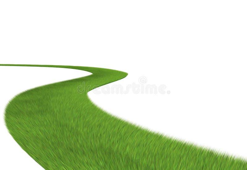 Weg van gras dat op witte achtergrond wordt geïsoleerd_ stock illustratie