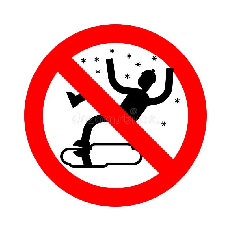Weg van het einde de Gladde ijs in de winter Verbodsmisstap op ijs Het verbieden aangaande vector illustratie