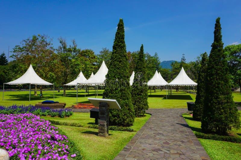 Weg van steen met het gaan naar witte tent op het park - bogor van fotoindonesië royalty-vrije stock afbeeldingen