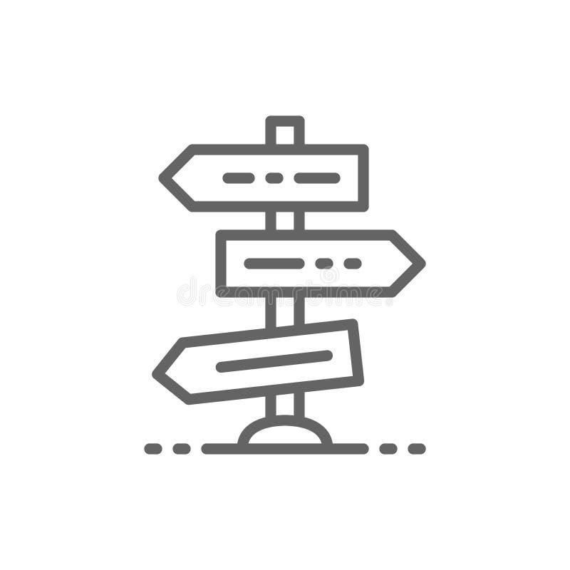 Weg of verkeersteken, kruising, kruispunten, het pictogram van de kruispuntlijn stock illustratie