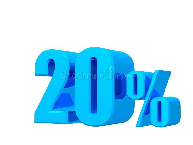 20% weg, Verkoopbevordering, aanbiedingsbanner het 3D teruggeven op witte achtergrond royalty-vrije illustratie