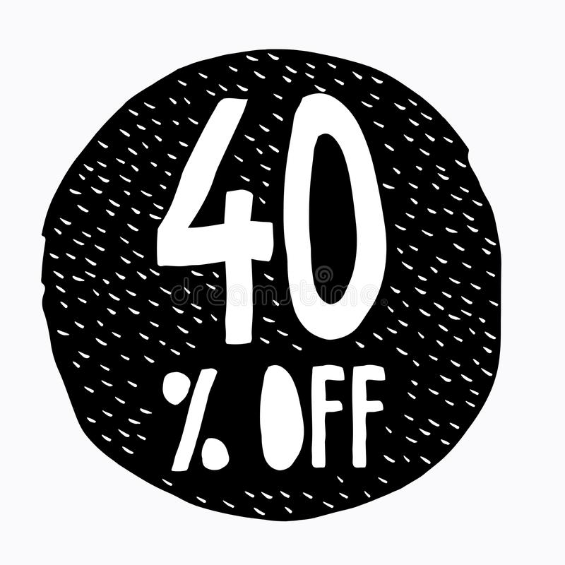 40% WEG vom Rabatt Rabatt-Angebots-Preis-Illustration Hand gezeichnetes Vektor-Rabatt-Symbol stock abbildung