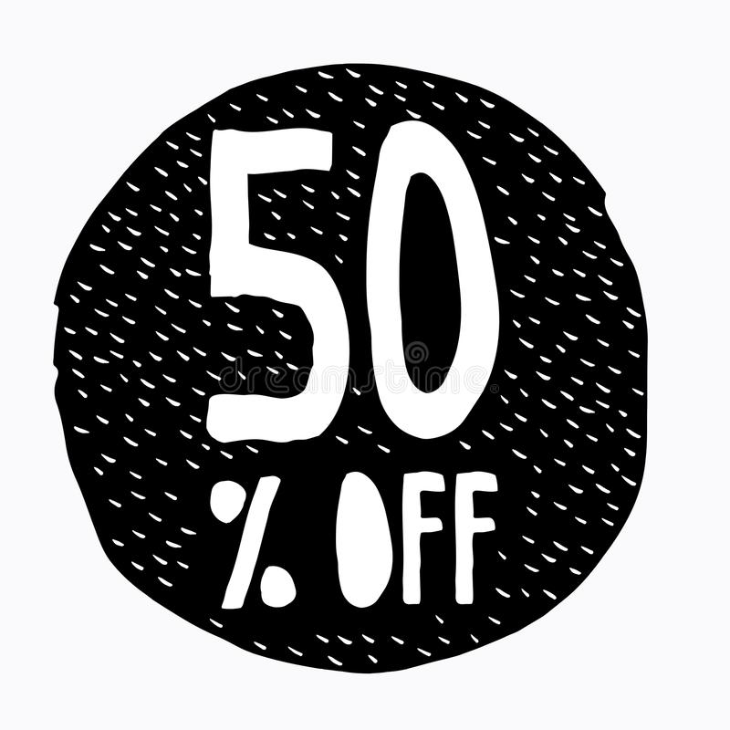 50% weg vom Rabatt Rabatt-Angebots-Preis-Illustration Hand gezeichnetes Vektor-Rabatt-Symbol lizenzfreie abbildung