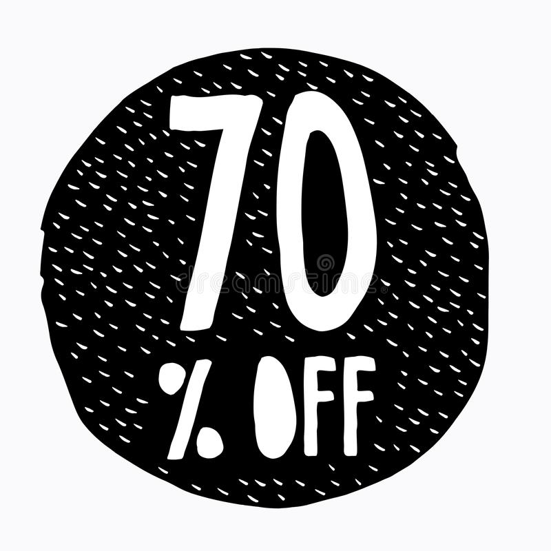 70% WEG vom Rabatt Rabatt-Angebots-Preis-Illustration Hand gezeichnetes Vektor-Rabatt-Symbol Schwarzer abstrakter Kreis vektor abbildung