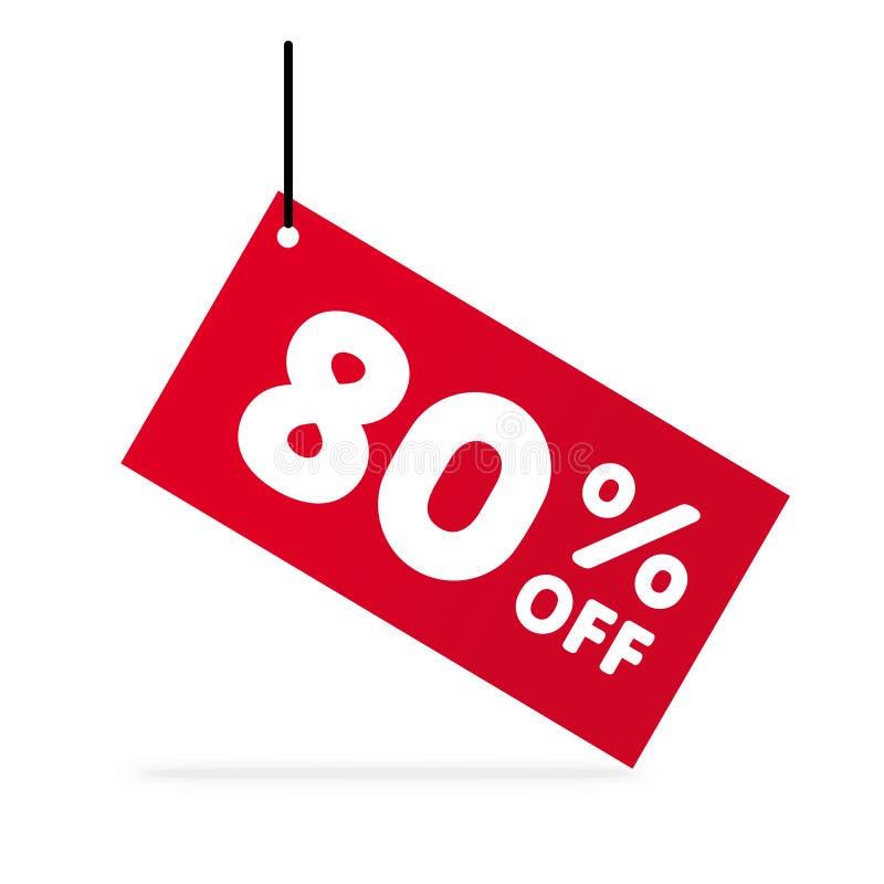 80% WEG vom Rabatt Rabatt-Angebots-Preis-Illustration Vektor-Rabattsymbol Rotes Tag mit weißem Text lizenzfreie abbildung