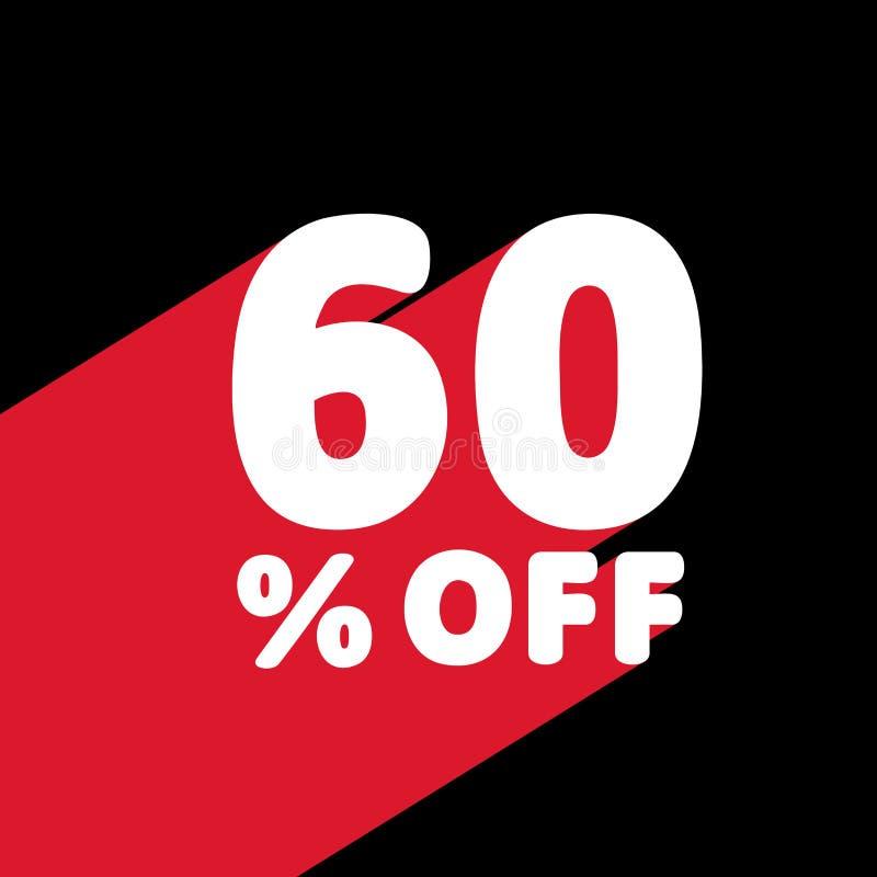 60% WEG vom Rabatt Rabatt-Angebots-Preis-Illustration Weißer Text mit rotem Schatten unten stock abbildung