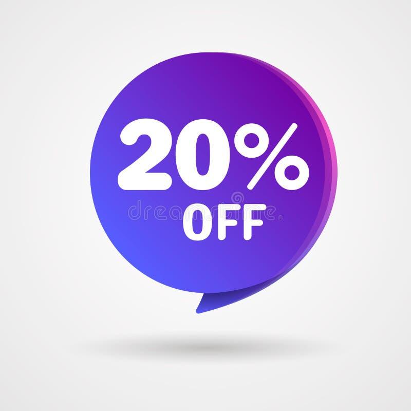 20% WEG vom Rabatt-Aufkleber Verkaufs-blaues und purpurrotes Tag lokalisierte Vektor-Illustration Rabatt-Angebot-Preisschild, Vek stock abbildung