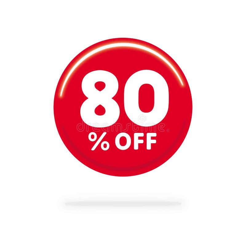 80% WEG vom Rabatt Rechnen Sie Angebotspreis Illustration, roten Kreis mit weißem Text ab stock abbildung