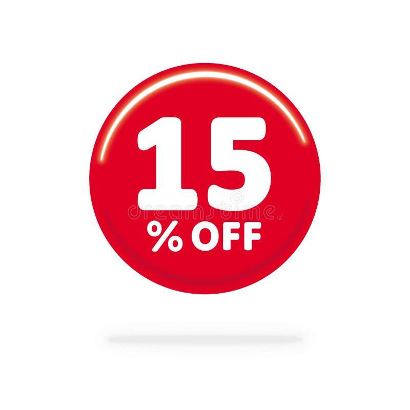15% weg vom Rabatt Rechnen Sie Angebotspreis Illustration, Vektorrabattsymbol ab Roter Ball mit weißen Buchstaben nach innen stock abbildung