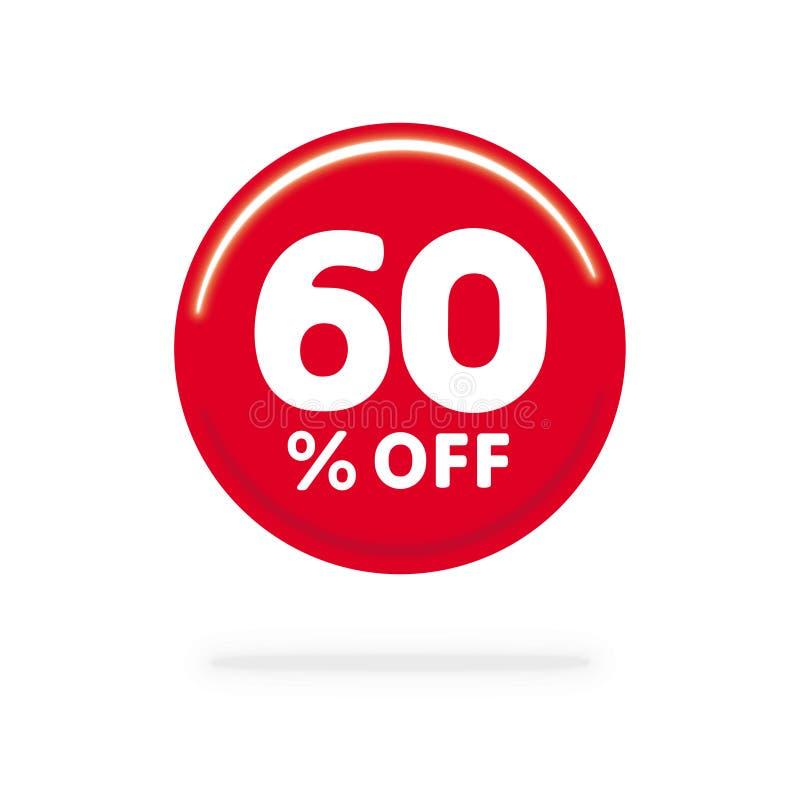 60% WEG vom Rabatt Rechnen Sie Angebotspreis Illustration, Vektorrabattsymbol ab Roter Kreis mit weißem Text lizenzfreie abbildung