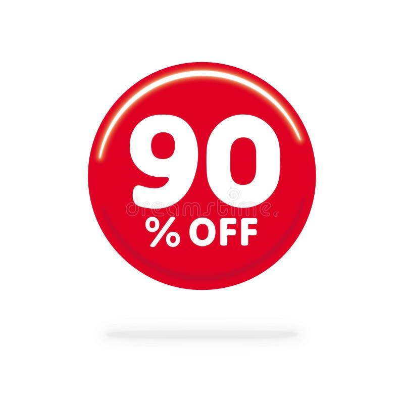 90% WEG vom Rabatt Rechnen Sie Angebotspreis Illustration, Vektorrabattsymbol ab Roter Kreis mit weißem Text lizenzfreie abbildung