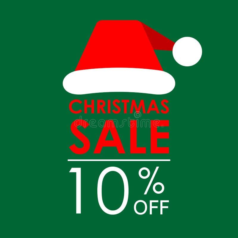 10% WEG vom Verkauf Weihnachtsverkaufsfahne und Rabattentwurfsschablone mit Santa Claus-Hut Auch im corel abgehobenen Betrag lizenzfreie abbildung