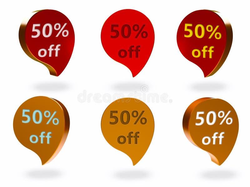50% weg vom Zeichen lizenzfreie abbildung