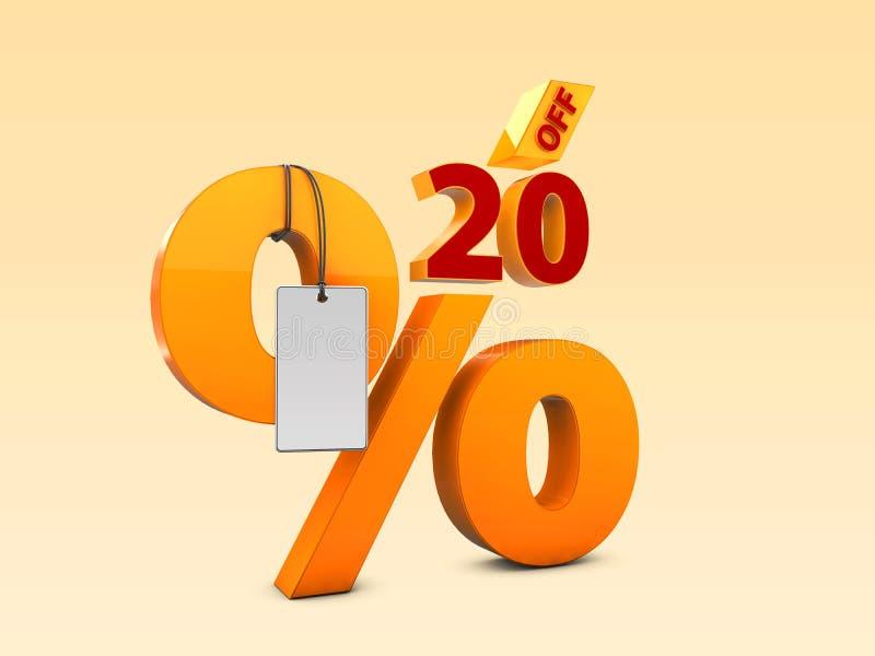 20 weg von der Illustration des Sonderangebotverkaufs 3d Rabattangebotspreissymbol vektor abbildung