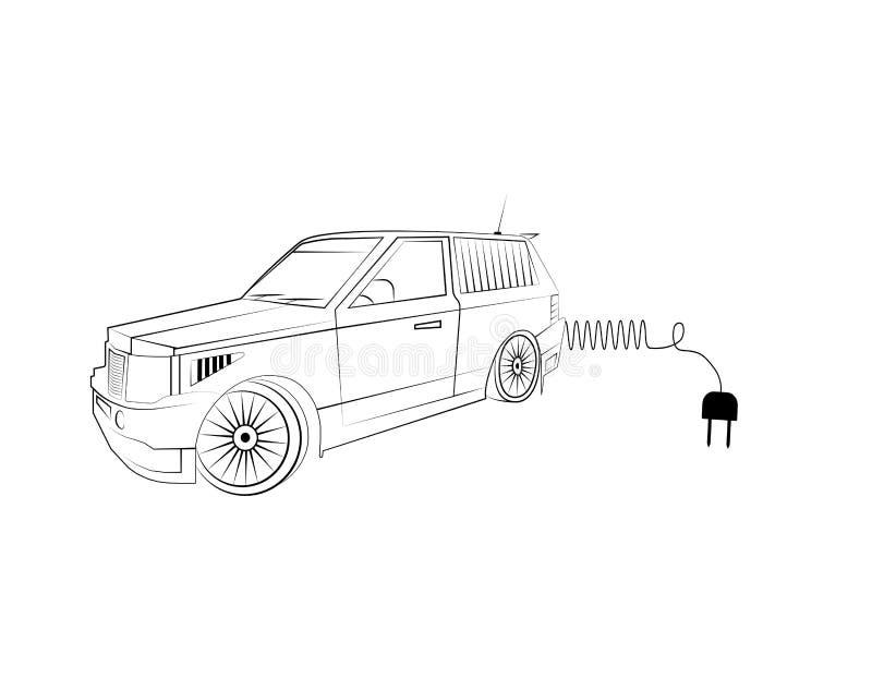 Weg von der Straßenautoikone mit elektrischem Stecker für die Aufladung der Motor- Vektorillustration vektor abbildung