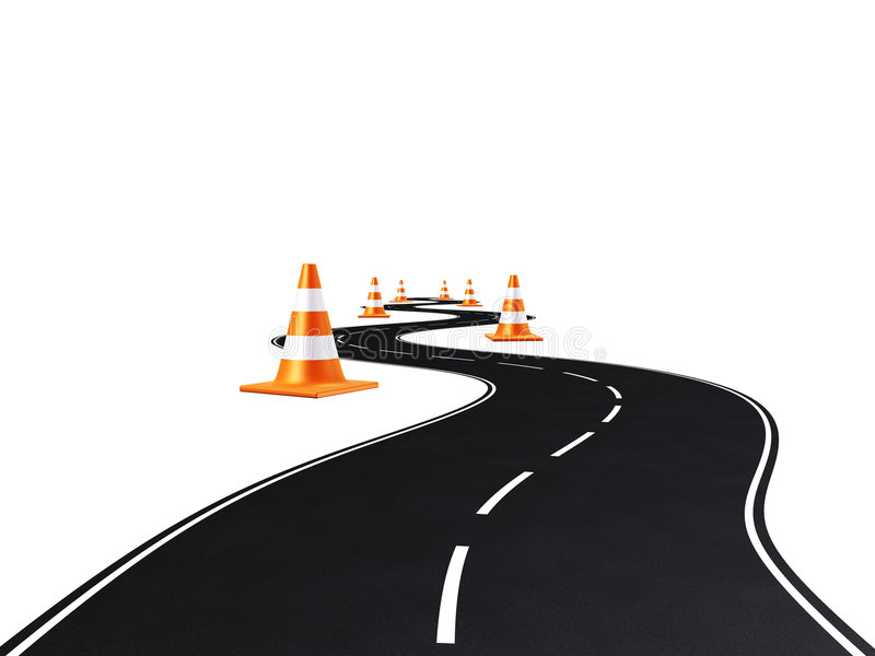Weg, weg, verkeerskegels stock illustratie