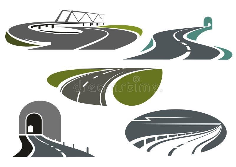 Weg, wegen, tunnels en brugpictogrammen stock illustratie