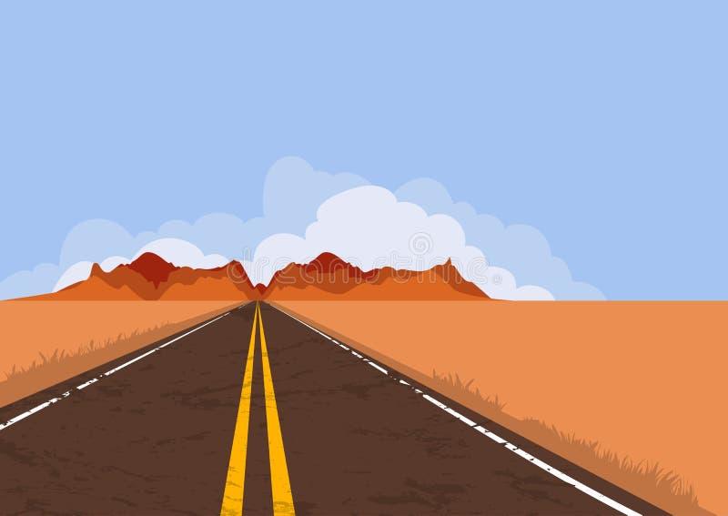 Weg in woestijn en bergen Aard vectorachtergrond met exemplaarruimte stock illustratie